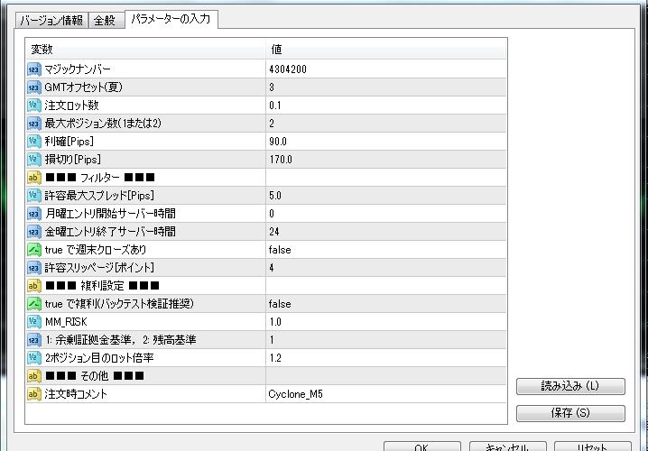 Cyclone】TP/SL, 最大ポジション数, 週末決済パラメータ追加